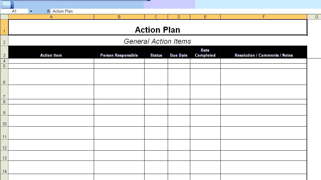 Minimalist Template Of Action Plan In Excel Format With Item And