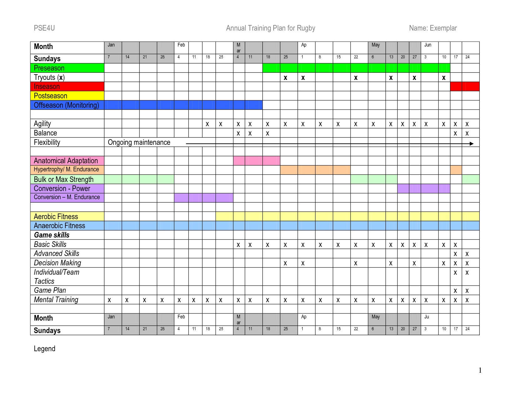 Annual Training Plan Template Excel - printable schedule ...