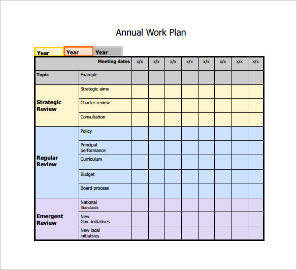 Annual Work Plan Template Doc