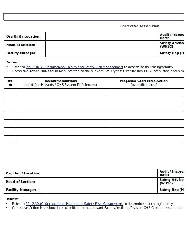 Work Plan Template Doc Corrective Action Annual