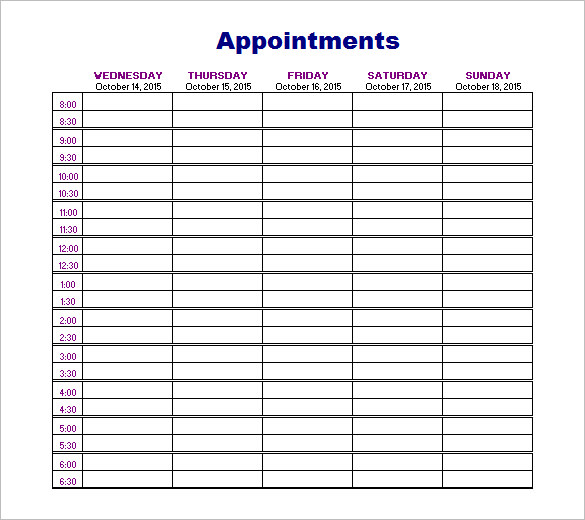 Printable Appointment Book Template PDF