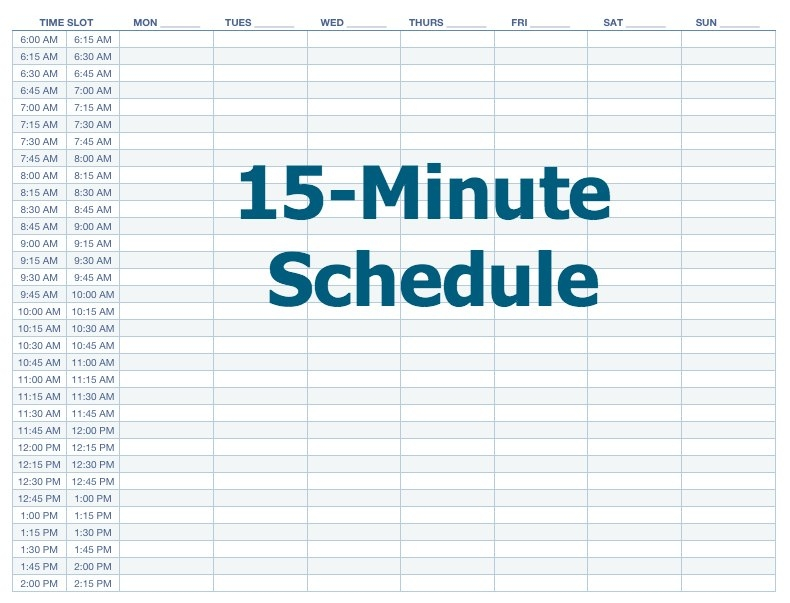 Daily Planner Template 15 Minute Increments