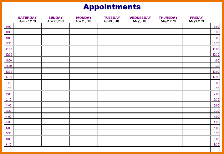 Appointment Schedule Template 5 Free Templates Schedule Templates