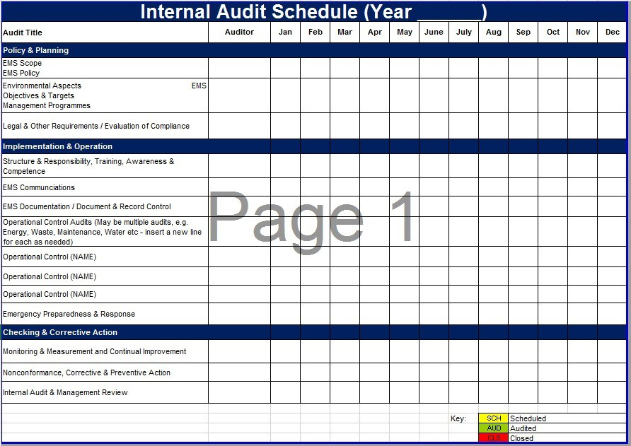 Free Sample Audit Schedule Templates