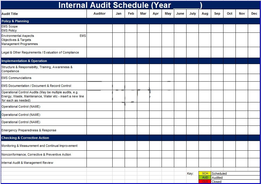 Audit Schedule Template Free