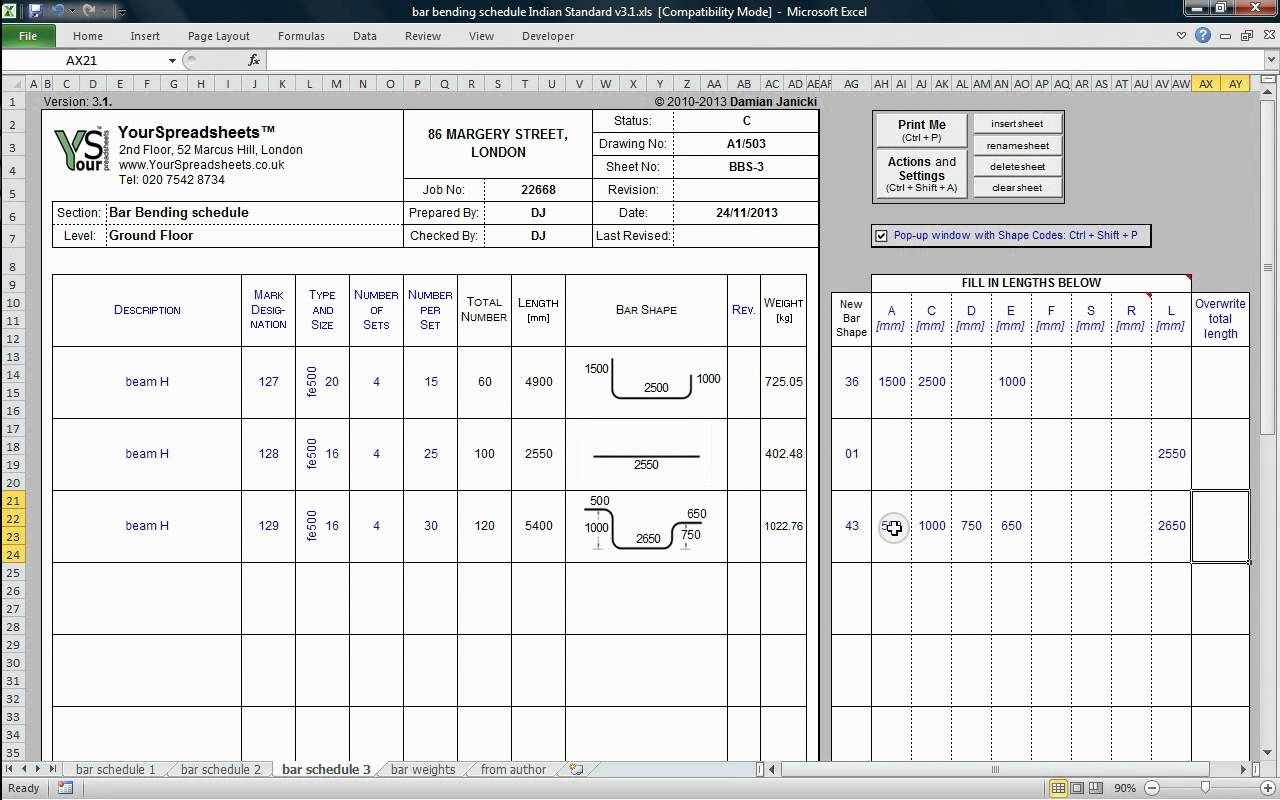 Bar Bending Schedule to IS 2502 Spreadsheet main features YouTube