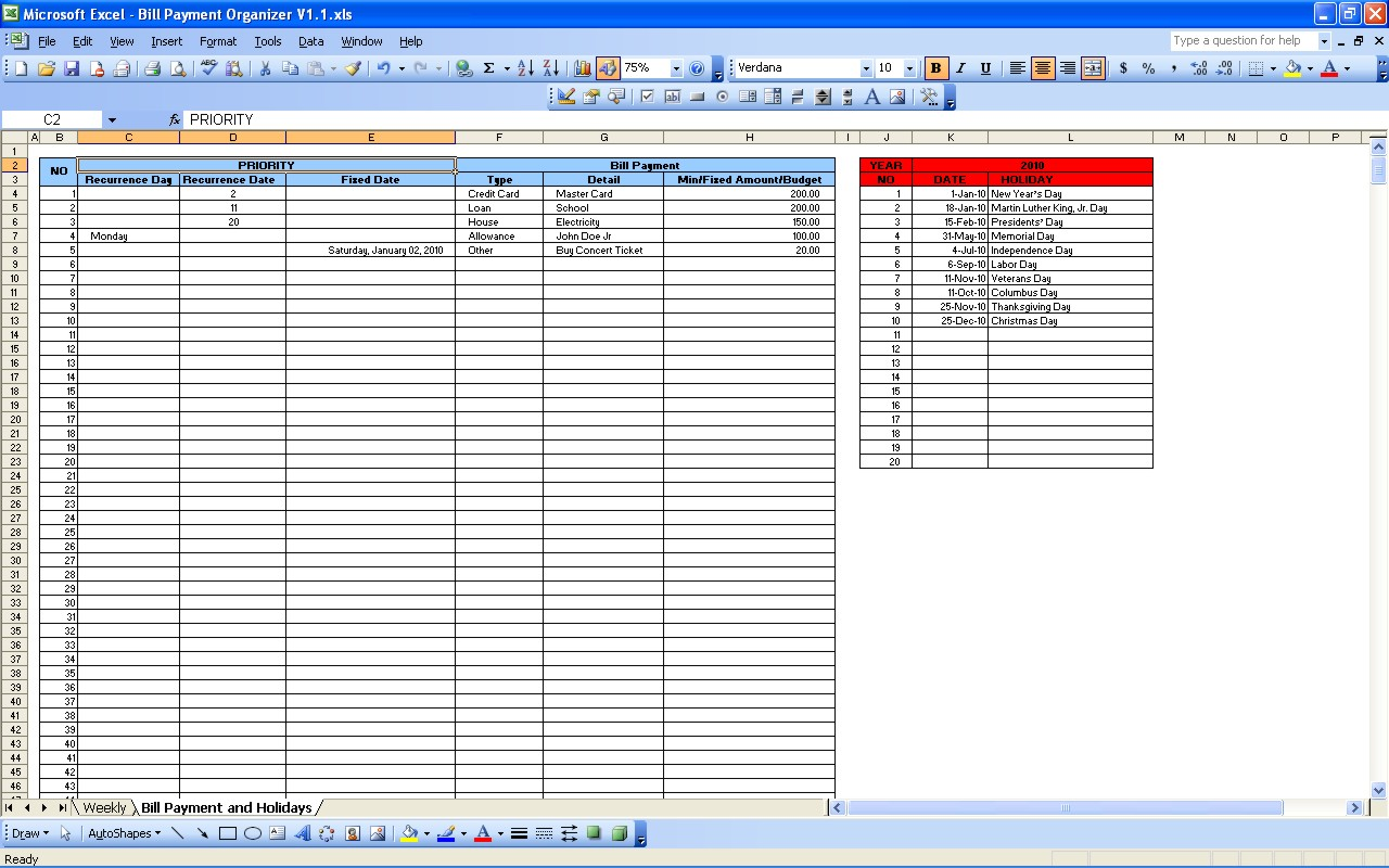 excel payment template