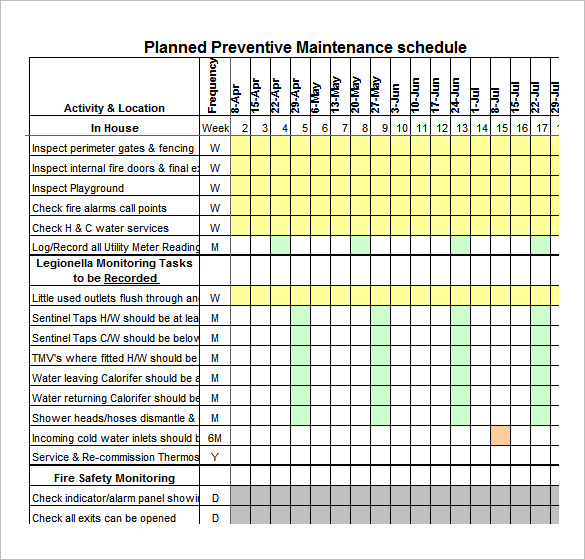 Preventative Maintenance Spreadsheet