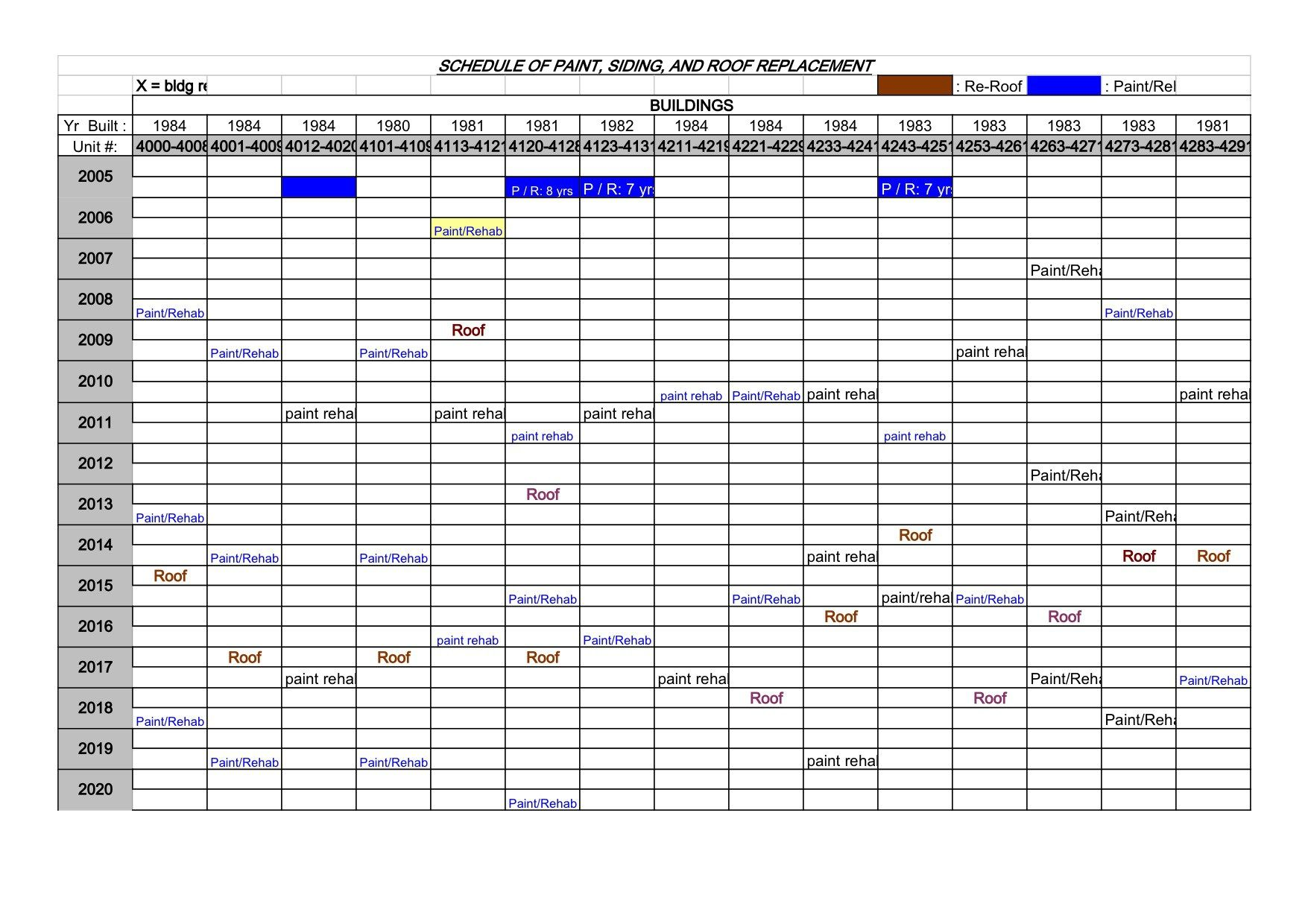 building maintenance schedule template excel xlts | Maintenance