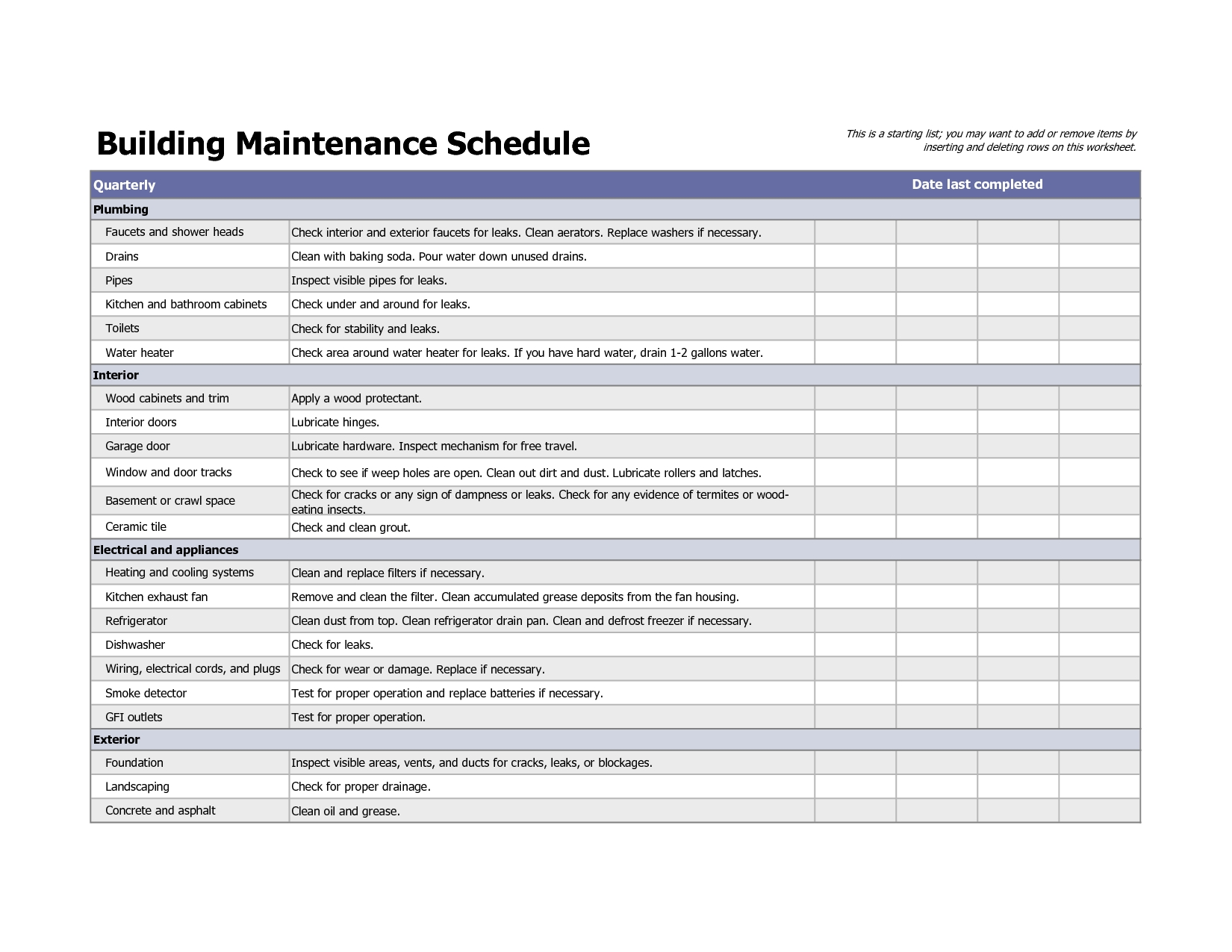 Building Maintenance Schedule Excel Template | planner template free