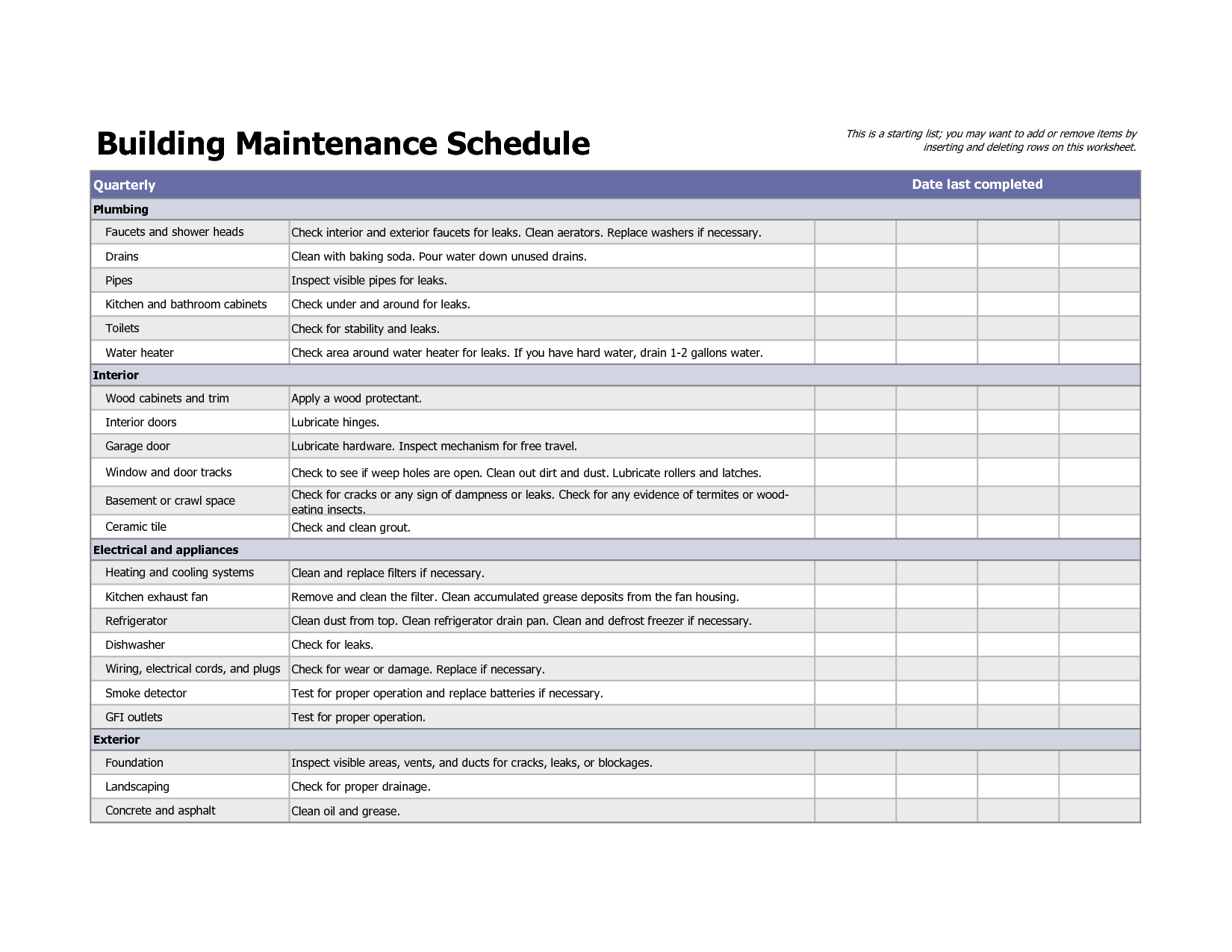 Building Maintenance Schedule Template