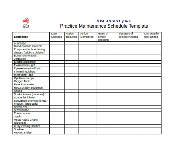 Building Maintenance Schedule Template Invitation Template