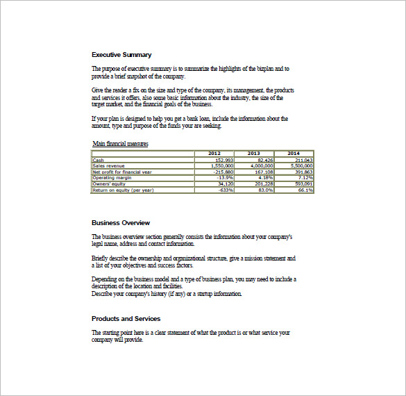 Business Plan Template Free Download Word Printable