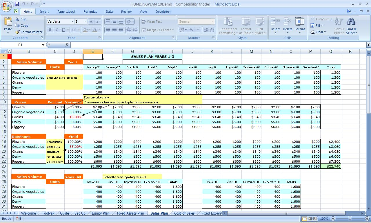Business Plan Spreadsheet Template Free