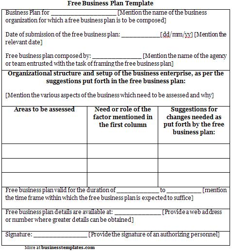 Business Plan Template Free