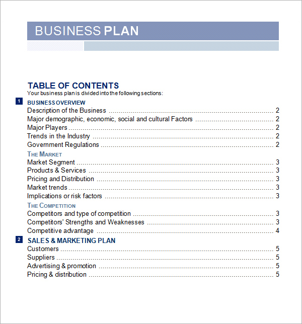business plan template free word sample business plan template