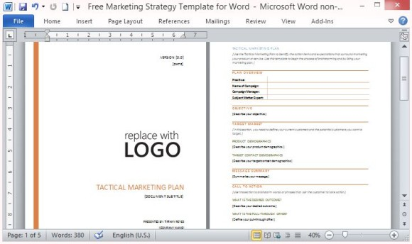 marketing plan template microsoft word free marketing strategy
