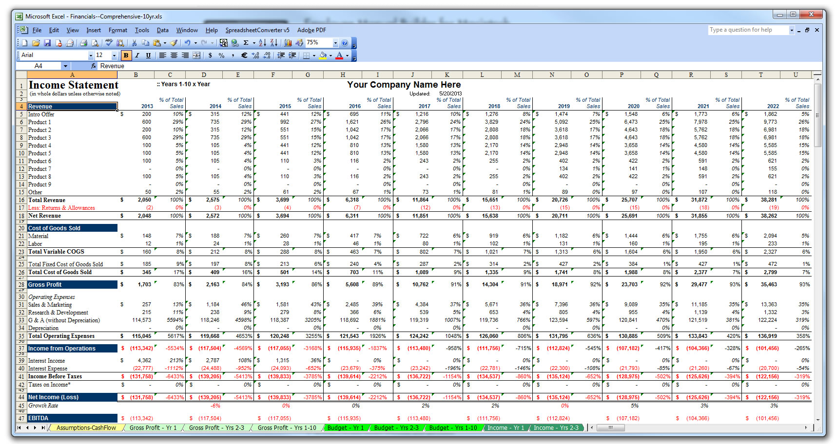 financial plan excel