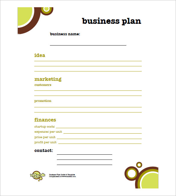 free business plan template pdf one page