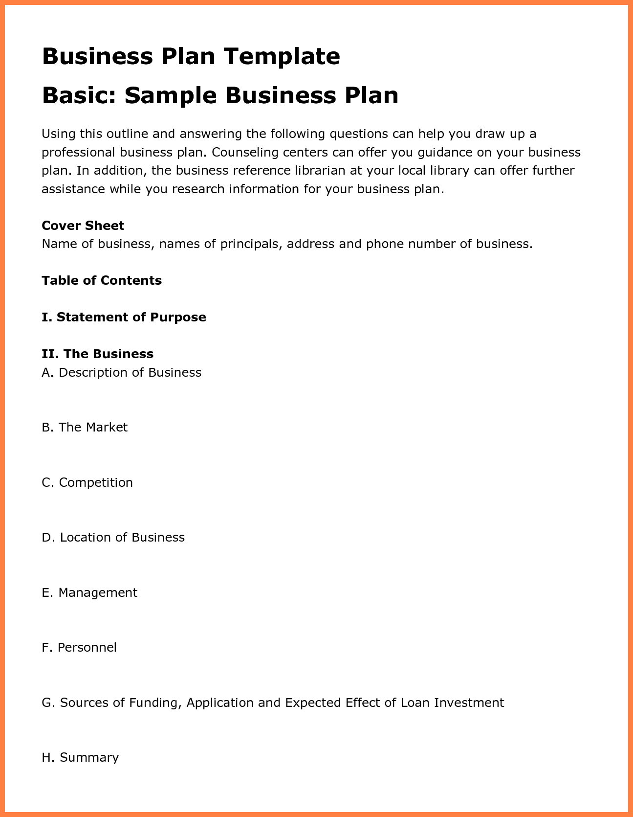 12+ examples business plan outline | Bussines Proposal 2017