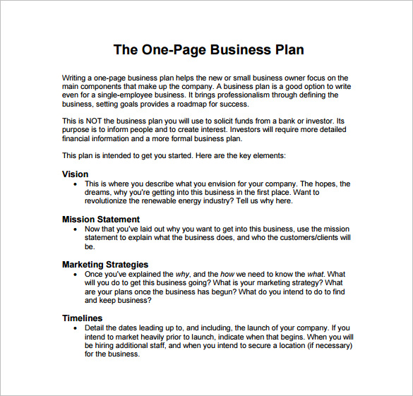 The One Page business plan template free