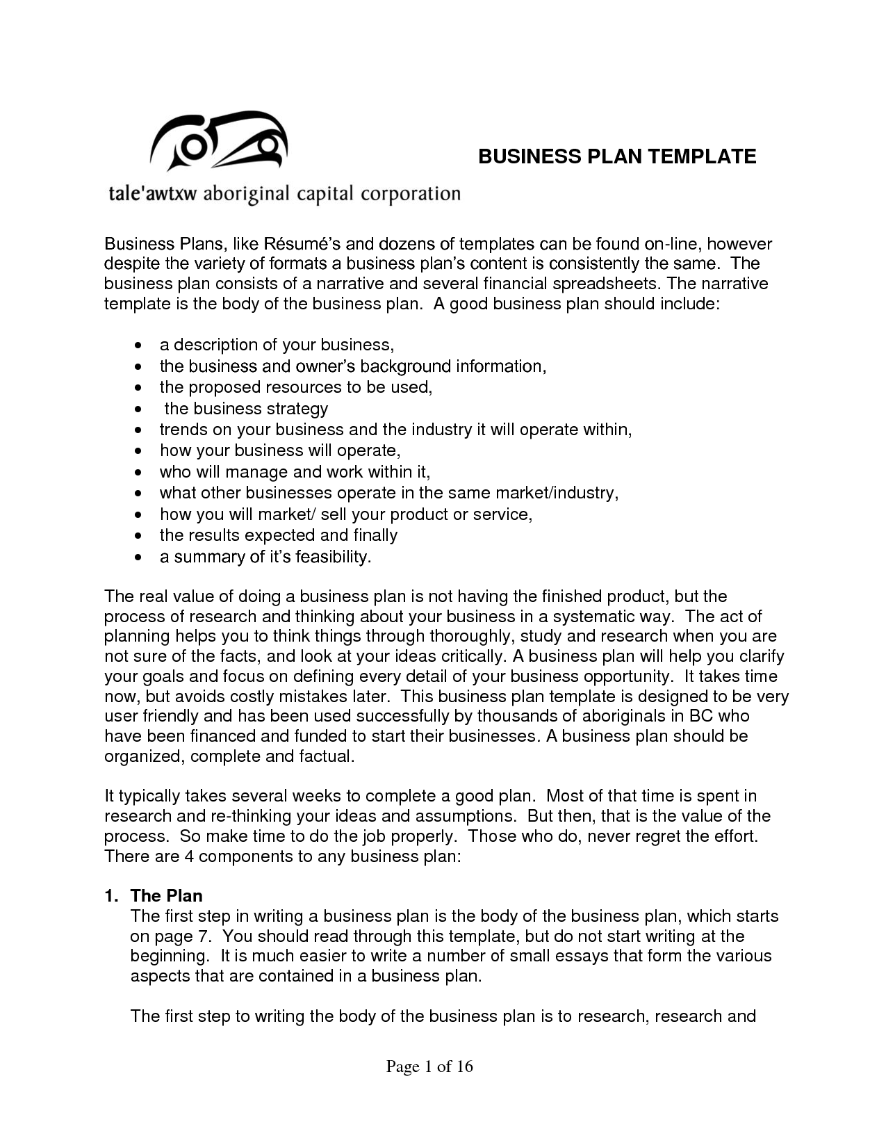 Writing A Small Business Plan Template
