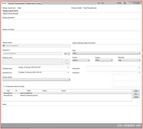 Mapping ITIL/MOF Change Management process to the features of the