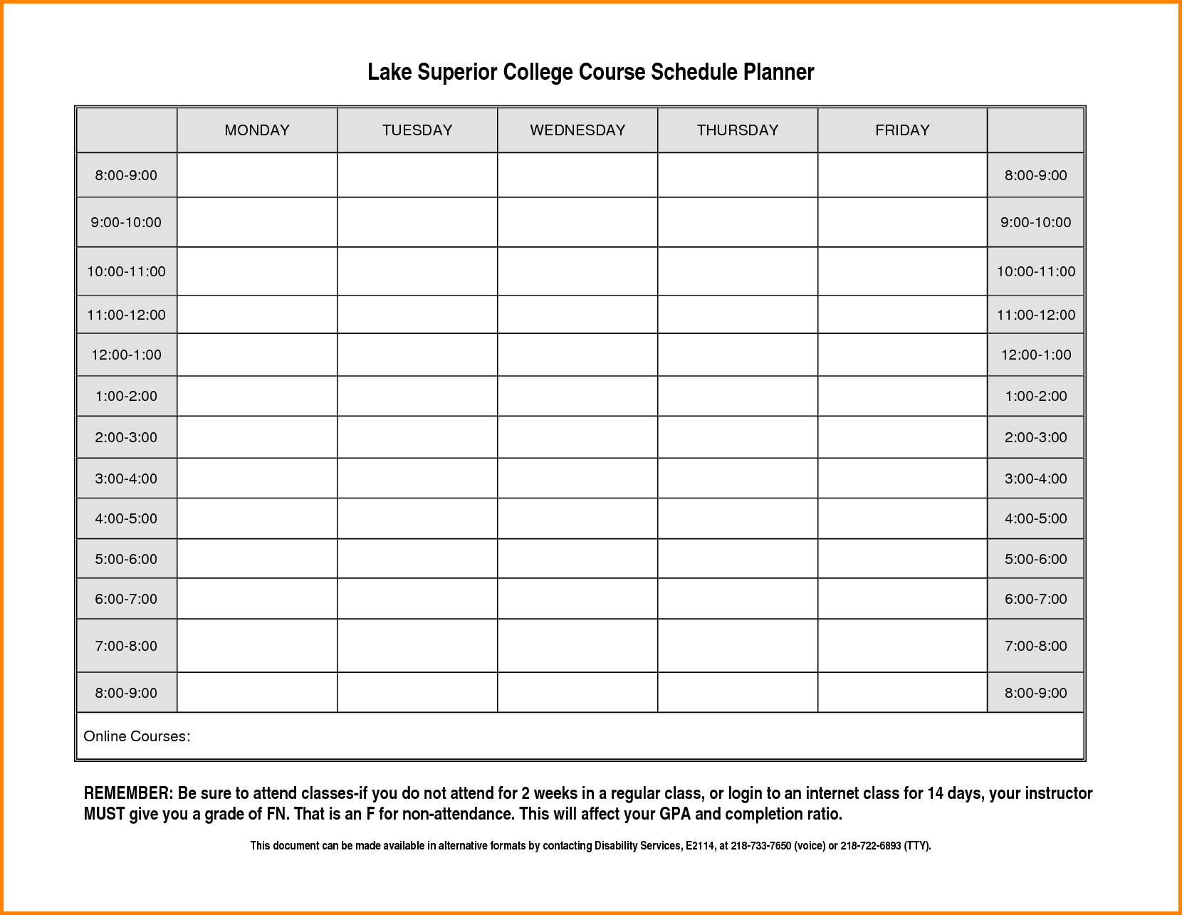 Class Schedule Template College