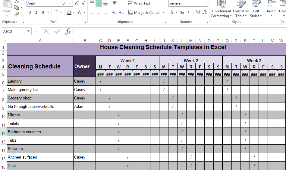 Cleaning Template In Excel