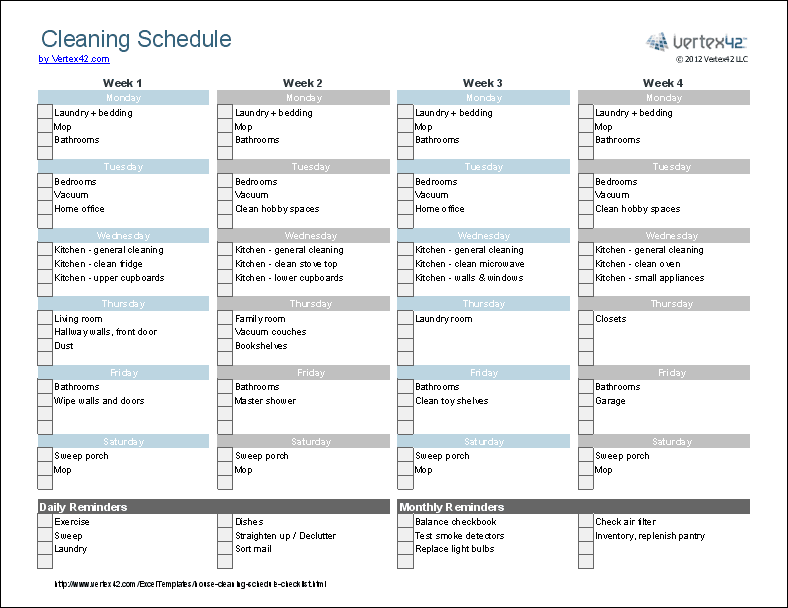 Zone Cleaning Schedule Printable