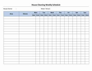 House Cleaning Schedule | Open Office Templates