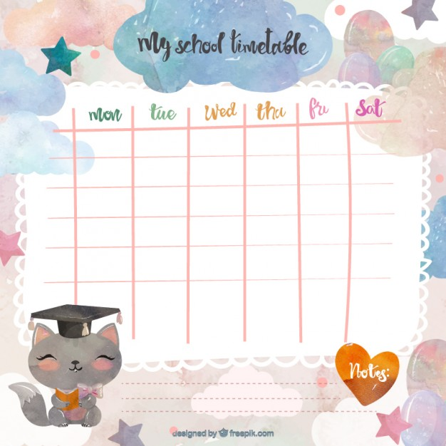 Cute school timetable Vector | Free Download