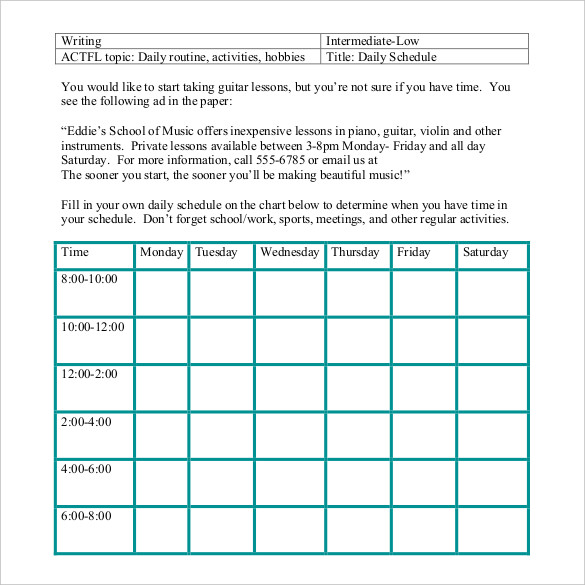 Daily Schedule Template 34+ Free Word, Excel, PDF Documents
