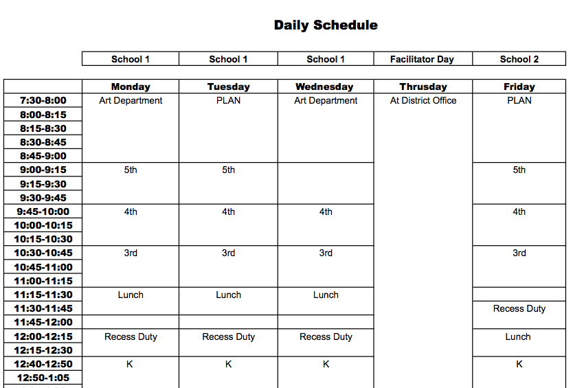 28 Images of Daily Schedule Template For Teachers