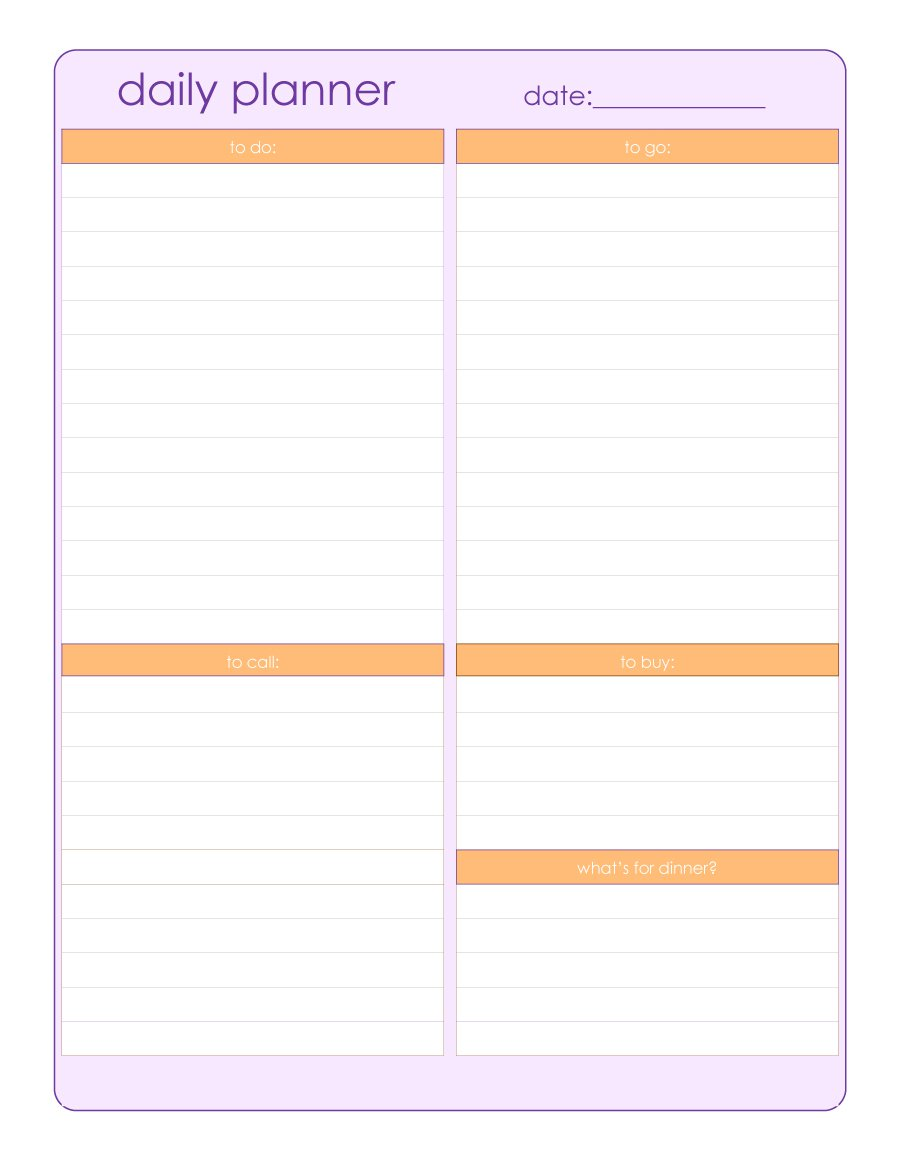 Free Printable Daily Planner Templates