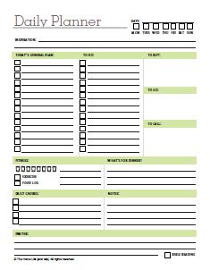 Daily Planner Template Printable
