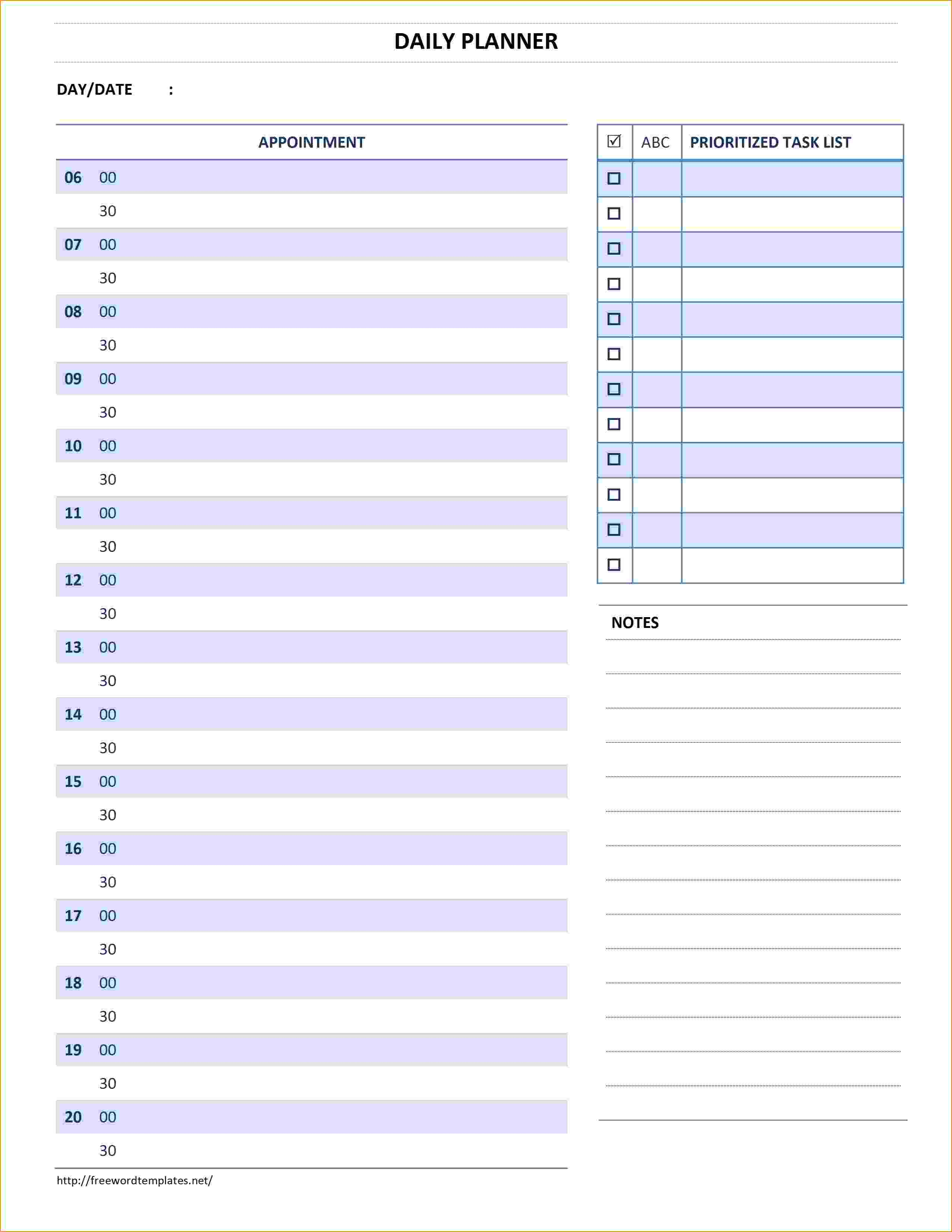 5+ daily planner template word