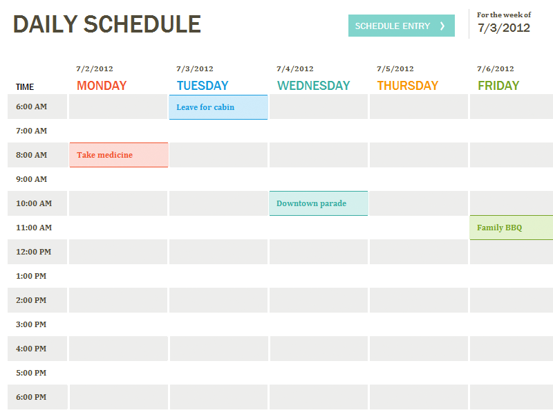 Excel Template Daily Schedule Template