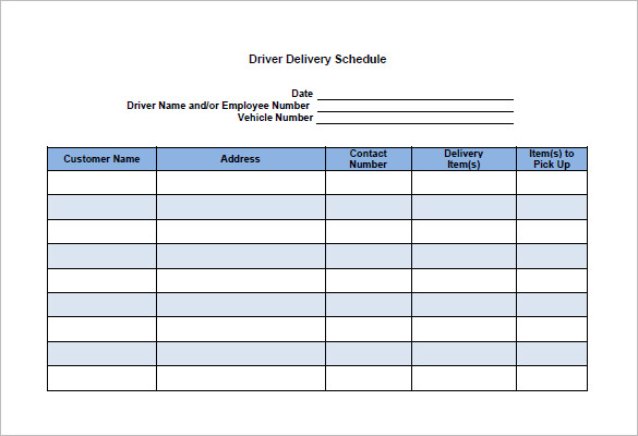 Free Delivery Schedule Templates