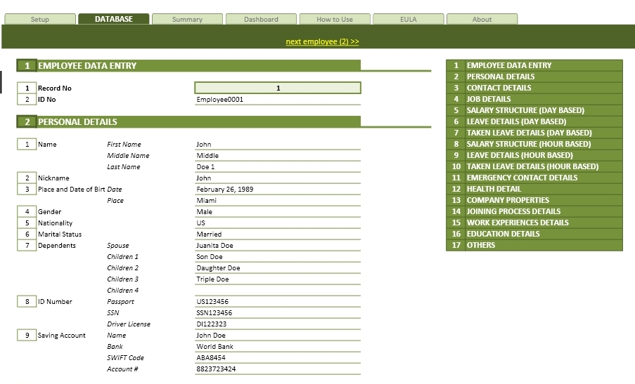 Employee Database Management Template | Excel Templates | Excel