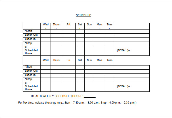 Employee Schedule Template 5 Free Word, Excel, PDF Documents