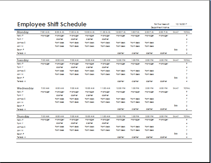 MS Excel Employee Shift Schedule Template | Word & Excel Templates
