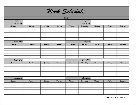 Employee Monthly Calendar Template