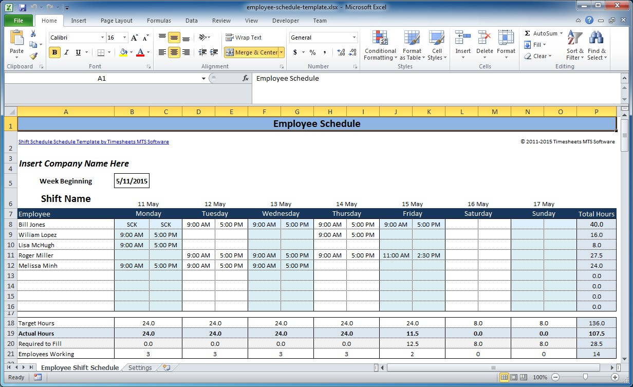 Free Excel Employee Scheduling Template | When I Work