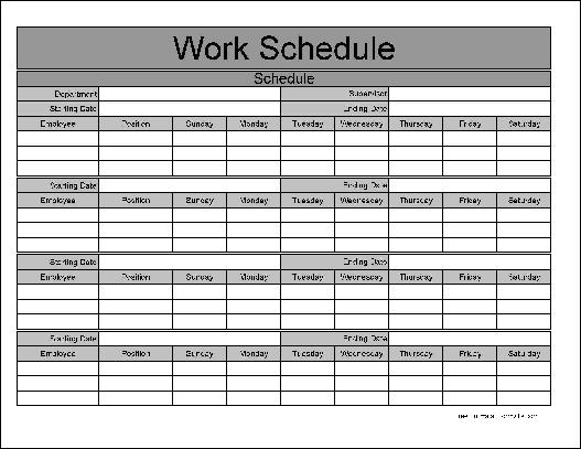 employee schedule template monthly  u2013 printable schedule template
