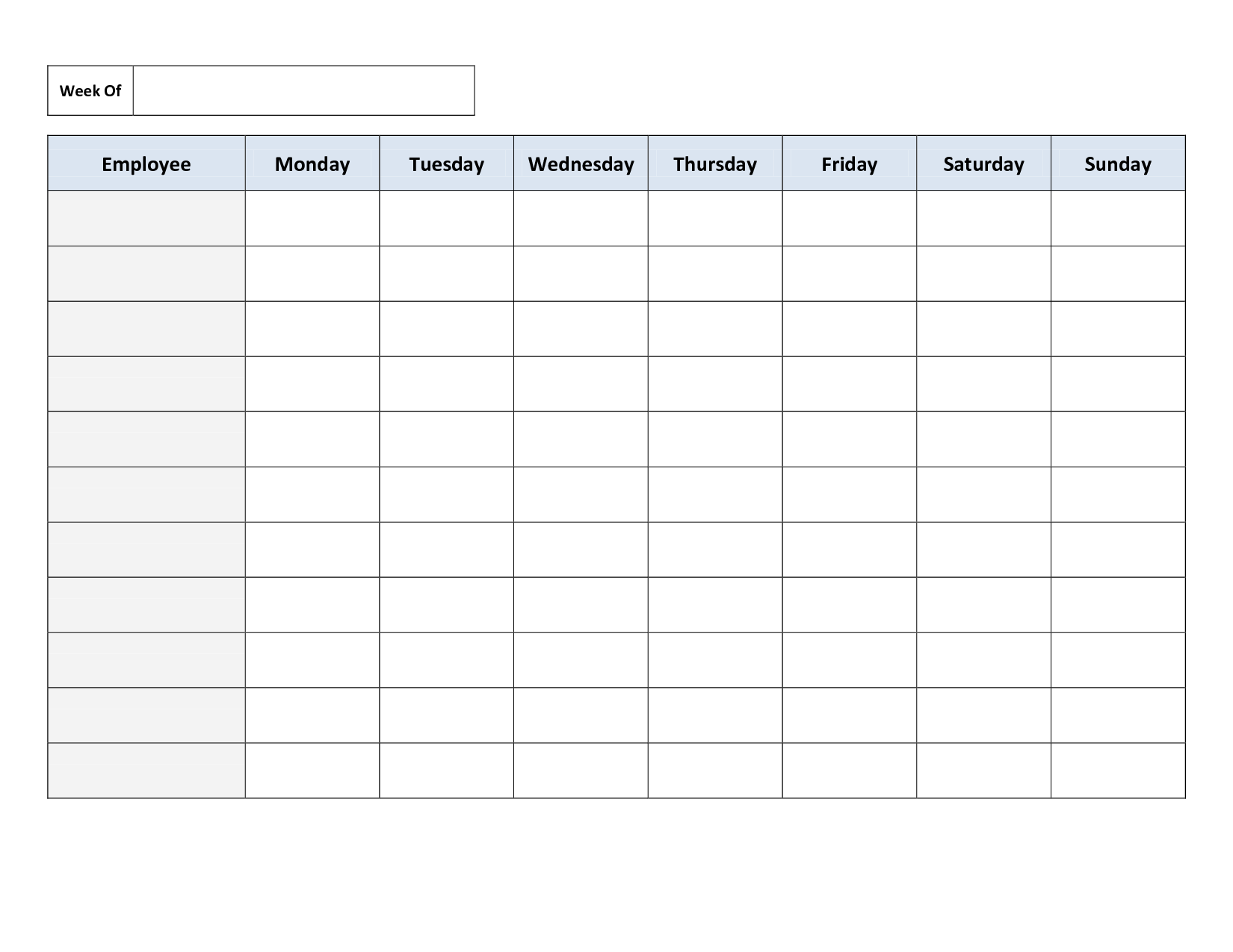 Free Printable Work Schedules | Weekly Employee Work Schedule