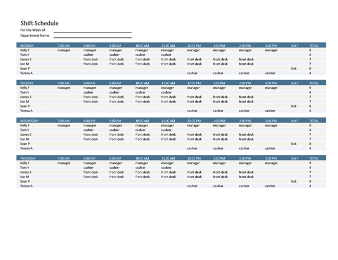 Employee shift schedule Office Templates
