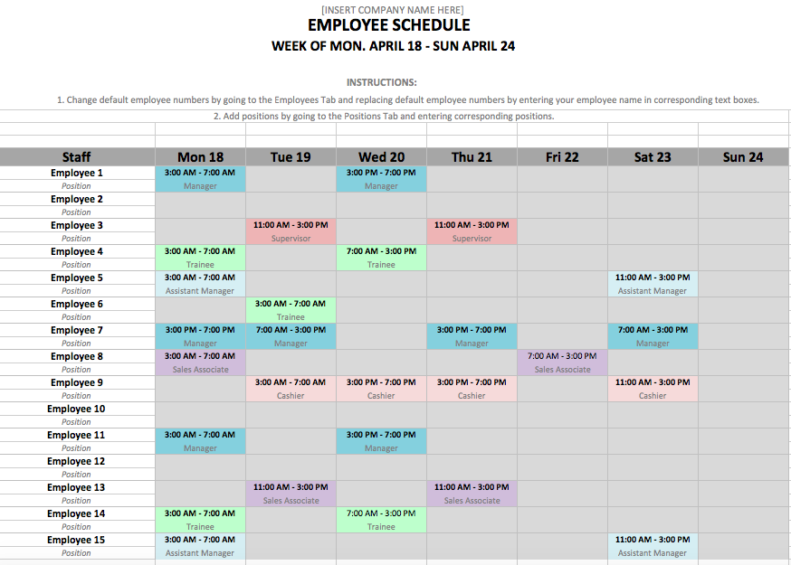 Steps to a Microsoft Excel Employee Shift Schedule