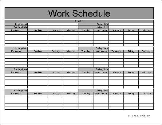 Free Basic Monthly Work Schedule from Formville
