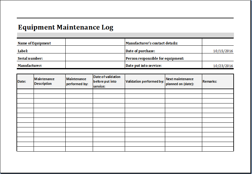 Equipment Maintenance Log Template MS Excel